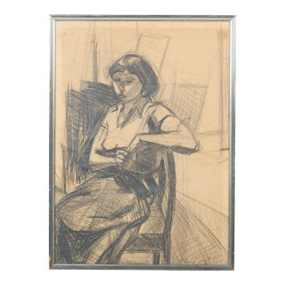 Expressionist Portrait of a Woman, Charcoal Drawing by Eugenij Kleno For Sale