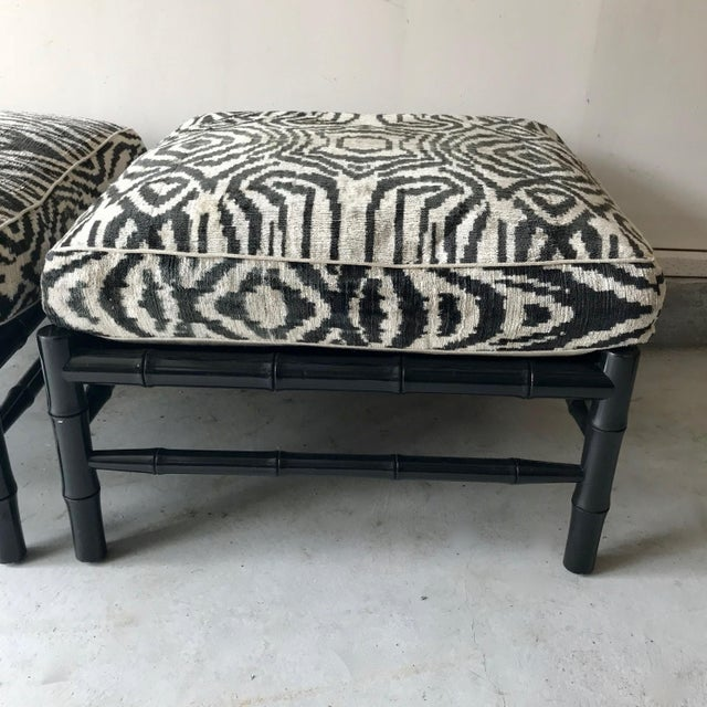 Black Bamboo Stools With Zebra Print Poufs - a Pair For Sale In Los Angeles - Image 6 of 7