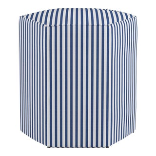 Hexagonal Ottoman in Navy Fairfield Stripe For Sale