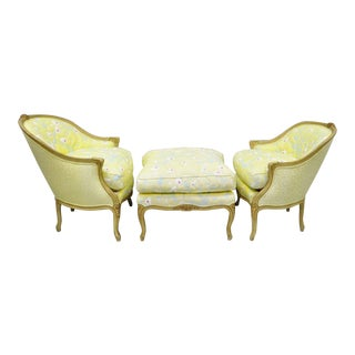 1950s Vintage French Louis XV Style Duchesse Brisee Seating Set- 3 Pieces For Sale
