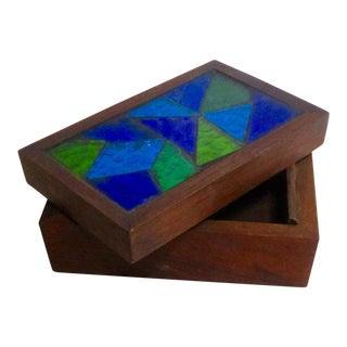 Vintage Mid-Century Modern Jon Matin Mosaic Turquoise Lidded Box Storage Like Briard For Sale