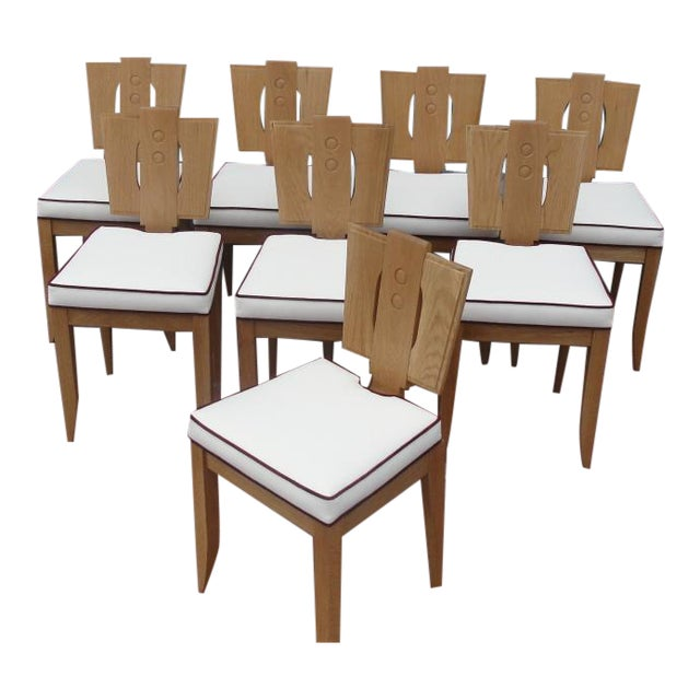 Canvas Set of 8 Natural Finish Oak Chairs in the Style of Francis Jourdain For Sale - Image 7 of 7
