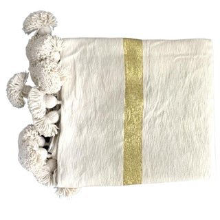 Cream Wide Gold Pompom Throw For Sale