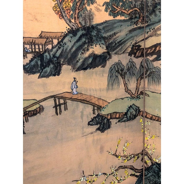 Mid 20th Century Vintage Silk Asian Folding Screen For Sale - Image 5 of 10