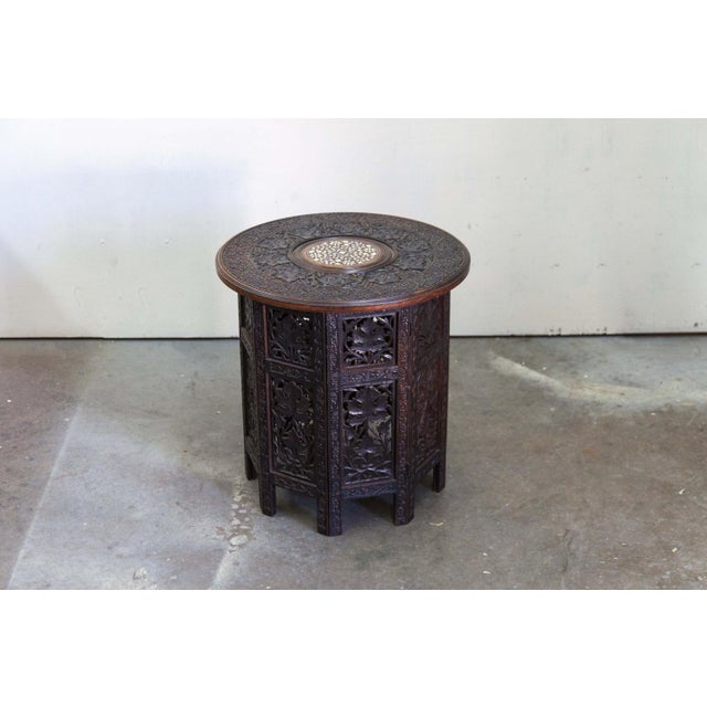 Antique Round Inlayed Table with Carvings - Image 2 of 6