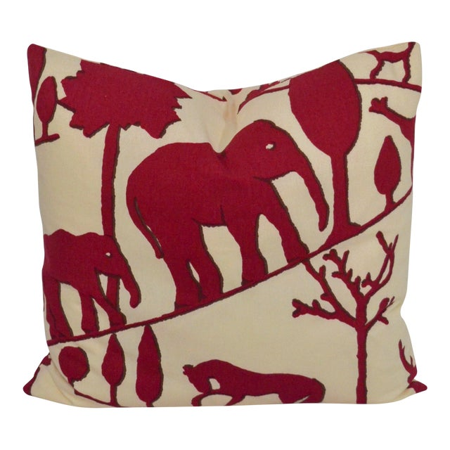 Clarence House Cotton Elephant Pillow For Sale