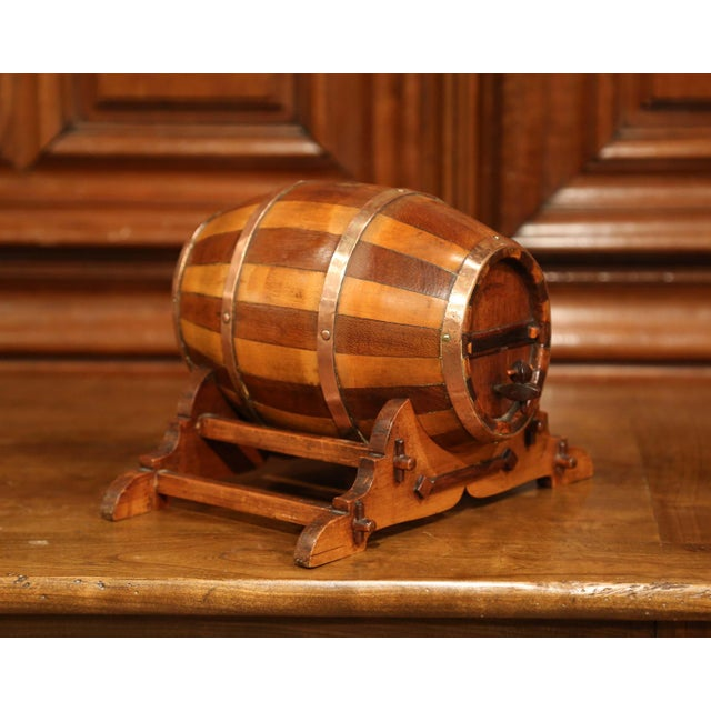 French Early 20th Century French Carved Fruitwood and Brass Cognac Barrel on Stand For Sale - Image 3 of 9