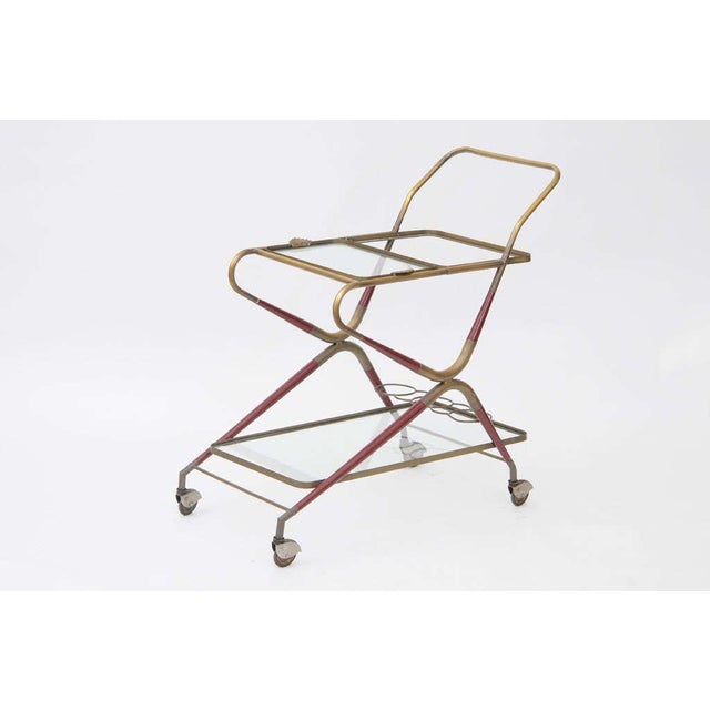 Cesare Lacca Bar Cart 2 Levels with Glass Trays and Brass Frame. Brass Frame Includes Reddish Stained Wood Inserts. Good...