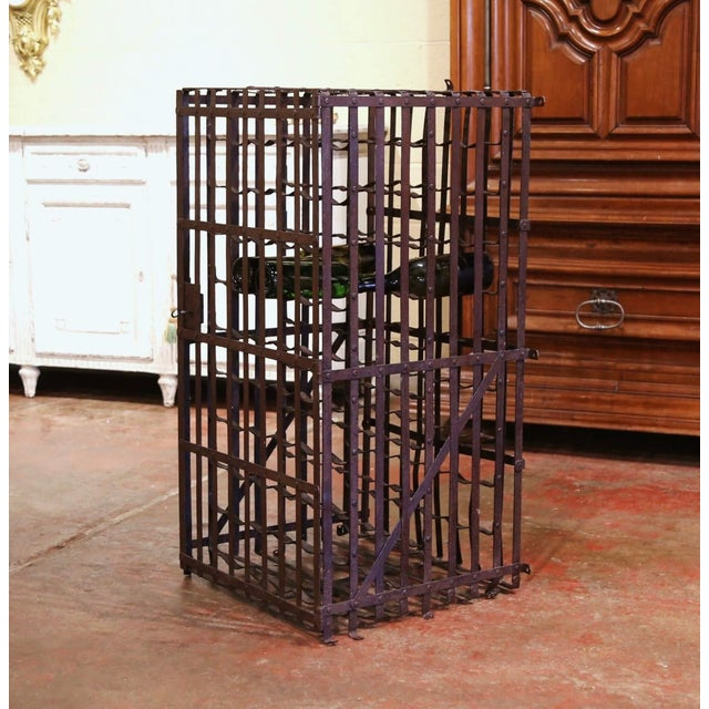 19th Century French Iron Hundred-Bottle Wine Rack Cabinet From Burgundy For Sale - Image 9 of 9