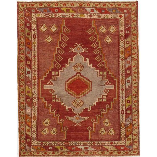 Vintage Turkish Kars Rug Carpet, 4'4 X 5'6 For Sale - Image 4 of 4