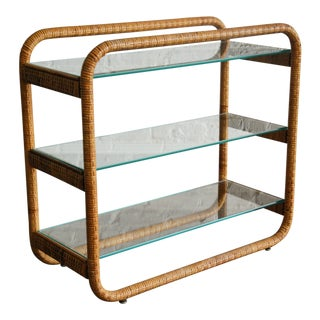 Circa 1970, Mid-Century Modern, Rattan, Glass, Étagère For Sale