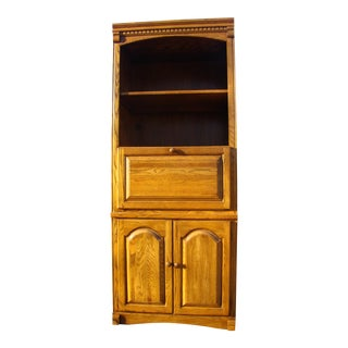 1990s Regency Highboy Golden Oak Desk With Book Case