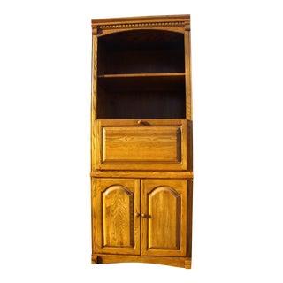1990s Regency Highboy Golden Oak Desk With Book Case