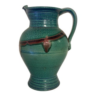 Signed Pottery Glazed Turquoise Pitcher For Sale