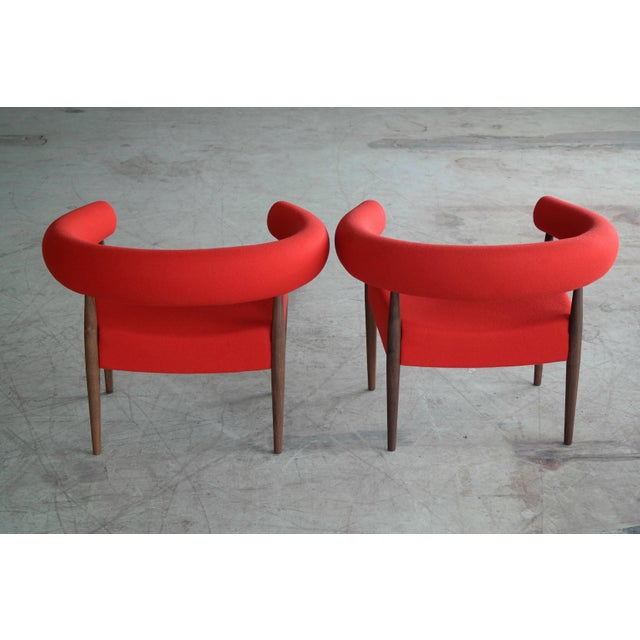 1950s Pair of Nanna Ditzel Ring Chairs in Walnut and Wool for GETAMA For Sale - Image 5 of 10