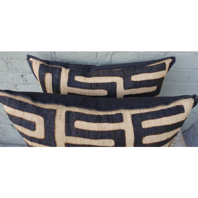 Large Square Black and Tan African Kuba Cloth Pillows - Pair For Sale - Image 4 of 5