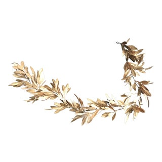 Hollywood Regency Gold Color Decorative Leaf Garland For Sale
