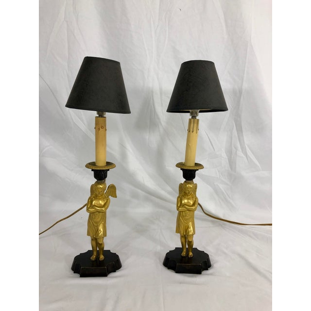 Bronze Bronze French Empire Angel Table Lamps a Pair For Sale - Image 8 of 8