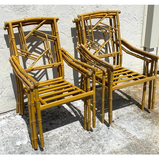 Mid 20th Century Set of Six Hollywood Regency Faux Bamboo Garden Chairs For Sale - Image 5 of 10