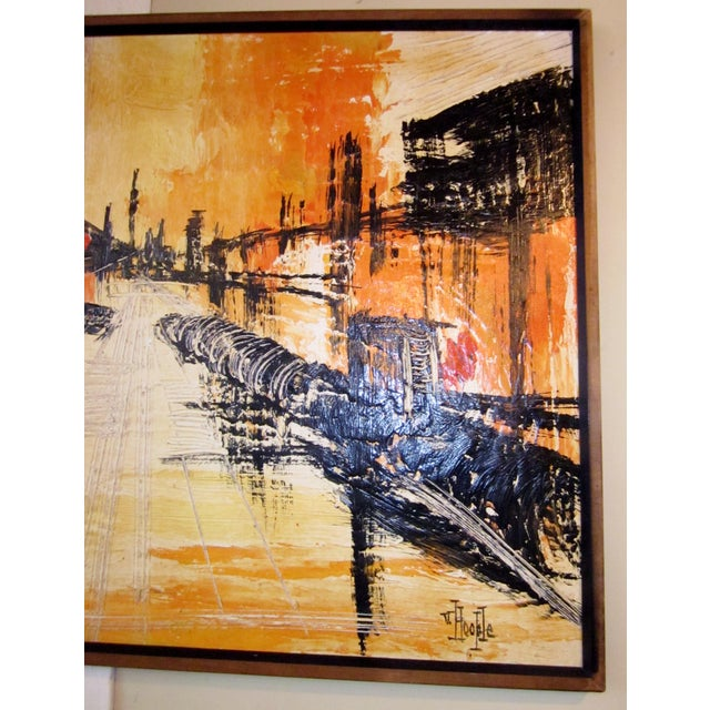 Mid-Century Modern Signed Van Hoople Modernist Industrial Abstract Landscape Impasto Style Oil on Canvas Painting For Sale In Chicago - Image 6 of 9