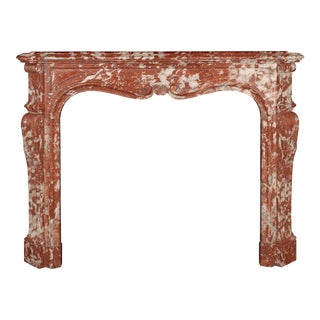 Antique Louis XV Rosso Francia Isabelle Marble Mantel For Sale