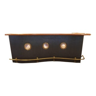 Marvelous Mid Century Nautical Themed Bar With Brass Port Holes and Railing For Sale