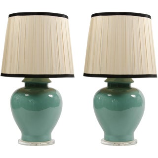 Large Turquoise Ginger Jar Lamps With Pleated Shade - a Pair