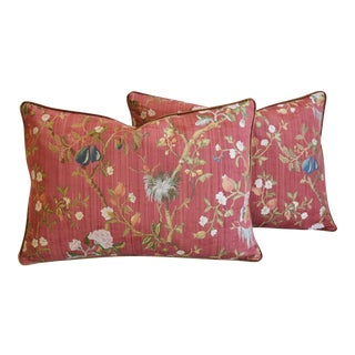 "Italian Scalamandre Melograno Silk Feather/Down Pillows 26"" X 18"" - Pair For Sale"
