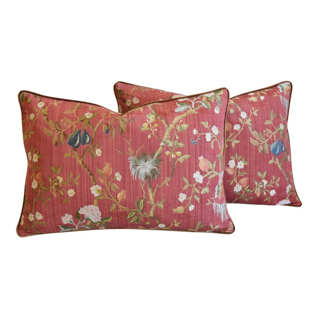 """Italian Scalamandre Melograno Silk Feather/Down Pillows 26"""" X 18"""" - Pair For Sale"""