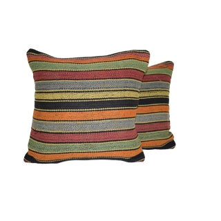 Pair Square Kilim Pillow Cover, Tribal Design Turkish Cushion Case 16'' X 16'' (40 X 40 Cm) For Sale