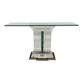 Jeffrey Bigelow Signed Lucite and Malachite Console Table For Sale