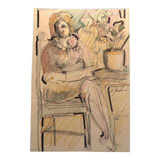 1960s Seated Woman Mixed Media Portrait Drawing For Sale