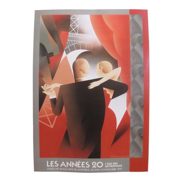 1991 Original Art Deco Exhibition Poster, Les Années 20 - l'Age Des Metropoles (Dancing Couple), for the Mmfa For Sale