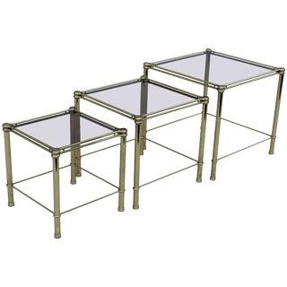 Mid-Century Modern Italian Brass Nesting Tables For Sale