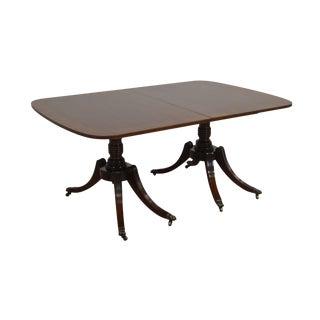 1950s Vintage Kittinger Mahogany Banded Regency Style Dining Table For Sale
