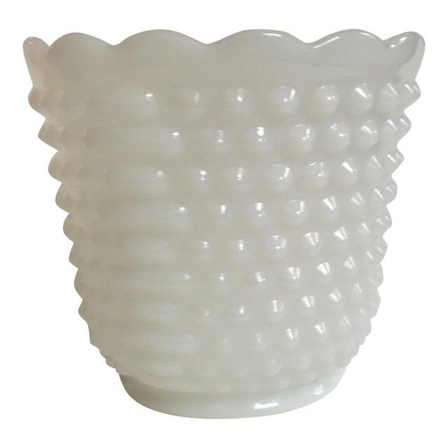 Vintage Fire King Pressed Milk Glass Planter Vase Chairish