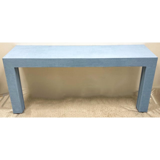 Parsons Style Grasscloth Console Table-Pair Available For Sale - Image 4 of 5