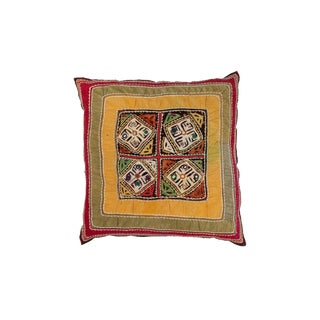 India Gudjarati Applique Pillow For Sale