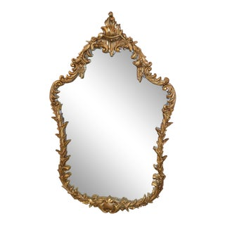 1950s Baroque Style Burnished Gold Shaped Wall Mirror