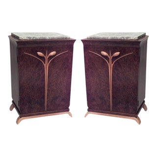 Pair of French Art Deco Burl Walnut and Maple Trimmed Bedside Commodes For Sale