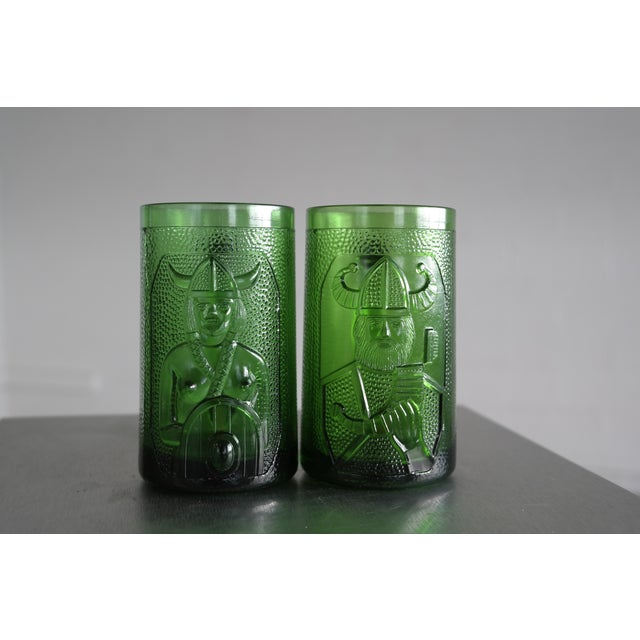Set of 6 Viking Glass Beer Mugs by John Käll for Elme Glasbruk Sweden - Image 2 of 8