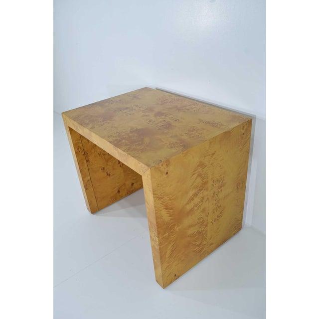 1970s Milo Baughman Burl Wood Side Table For Sale - Image 9 of 12