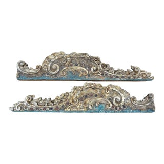 17th-18th Century Italian Baroque Painted and Giltwood Architectural Elements-A Pair For Sale