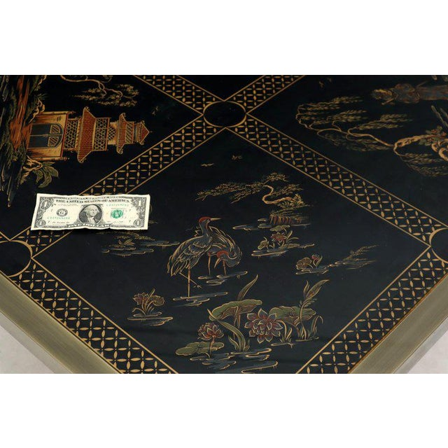 Brass and Gold Decorated Reverse Painted Glass Top Square Coffee Table For Sale - Image 6 of 13
