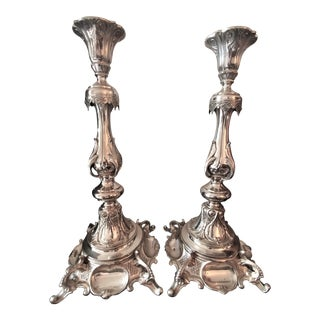 Sterling Silver 19 Century Candle Sticks - a Pair For Sale