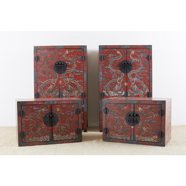 Metal Chinese Polychrome Decorated Compound Dragon Cabinets - a Pair For Sale - Image 7 of 13