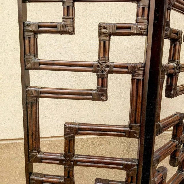 Exceptional heavy high quality bundled Reed Rattan Chinese Chippendale Room Divider with wooden frame and Rawhide accent...