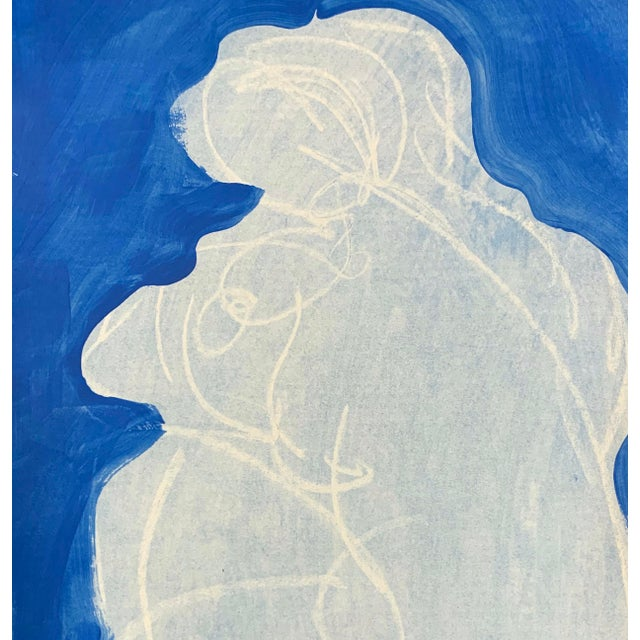 Drawing from the model - contour gesture drawing of the beauty of a woman. Acrylic paint, wax relief on paper. With this...