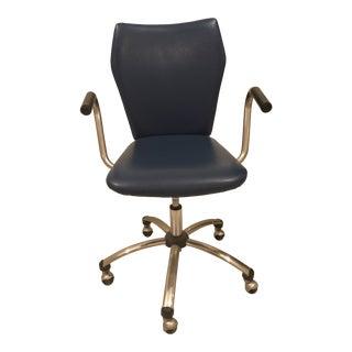 Modern Pottery Barn Blue Swivel Desk Chair For Sale