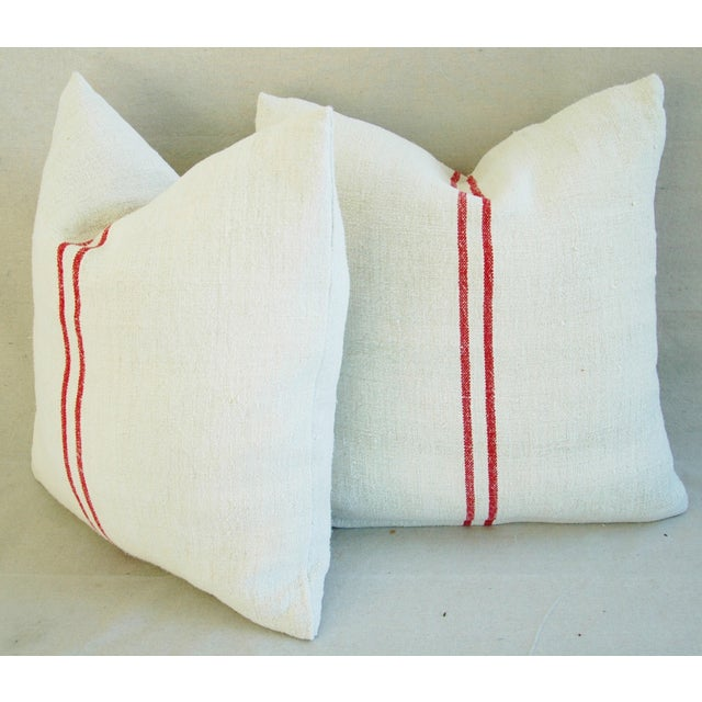 French Red Striped Grain Sack Down/Feather Pillows - Pair For Sale - Image 9 of 10